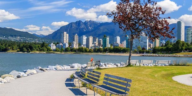 View of the West End, Vancouver, with beautiful waterfront parks.