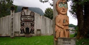Eagle Totem and Clan House on Shakes Island, Wrangell