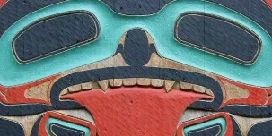 This carved totem pole in Ketchikan is part of one of the largest collections of standing totem poles.