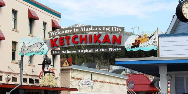 Sign welcoming you to Ketchikan, Akaska's first city
