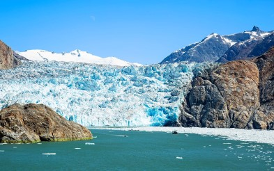 South Sawyer glacier shines in the sun.