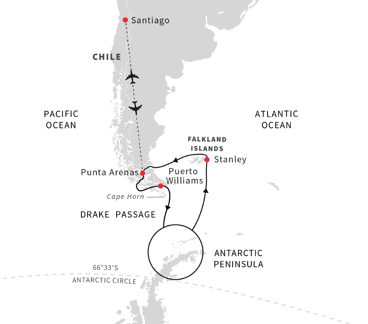 Exploration of Antarctica, Chilean Fjords and Falklands (Itinerary 1)