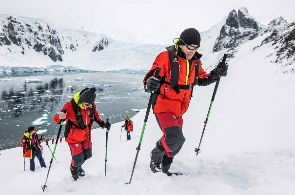 Hike in the snow in Orne Harbor, Antarctica