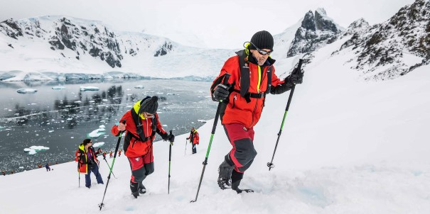 Hiking in the snow at Orne Harbour, Antarctica