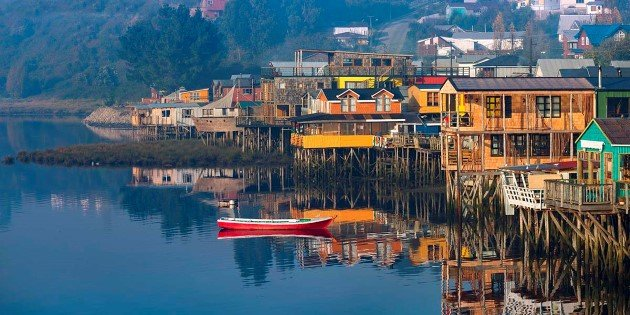 Houses on stilts in Castro, Chiloé  Island, Patagonia, Chile