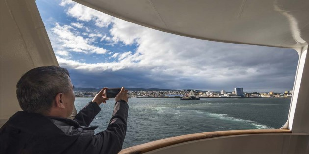 Leaving Punta Arenas on a Hurtigruten expedition cruise