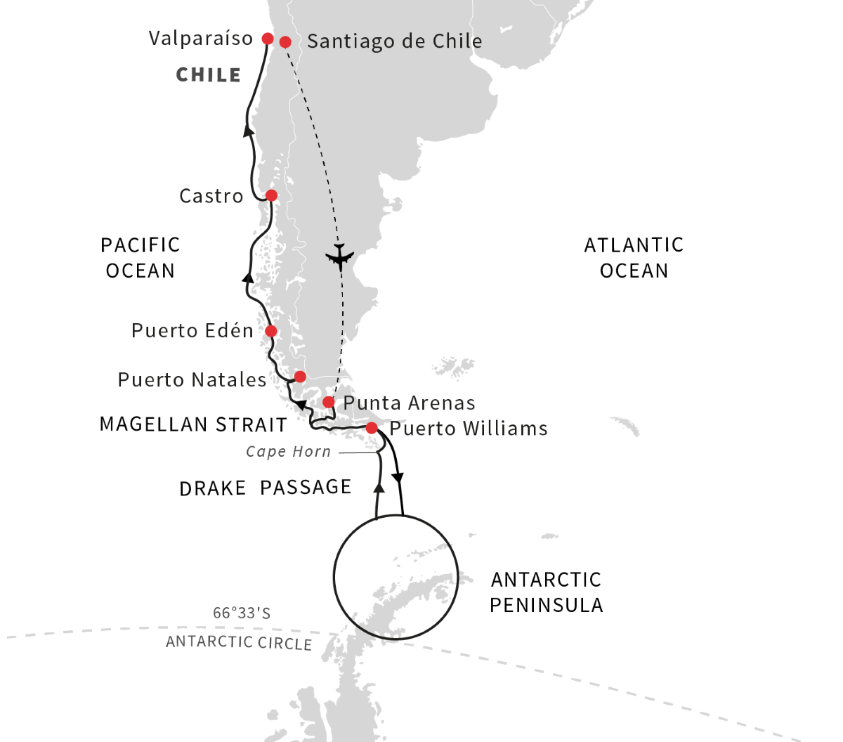 Antarctica, Patagonia, Chilean Fjords - Voyage of Discovery (Northbound)