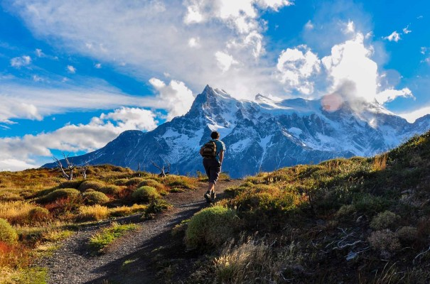 Hike in stunning surroundings in Parque Nacional Torres del Paine, Chile.