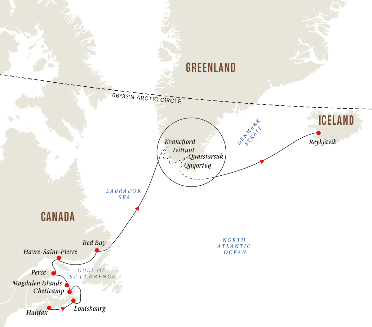 Atlantic Canada and Greenland - Expedition of History, Culture and Nature (Itinerary 1)