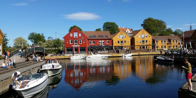 Dining in the harbor of Kristiansand, Norway