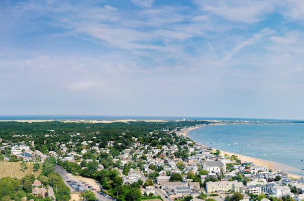 View of Provincetown from Pilgrim Monument. There will be plenty of chances to visit historic beauty on this US and Canada holiday, as we stroll on rugged shorelines, explore bays and inlets, taste amazing seafood and enjoy cultural attractions along the way.