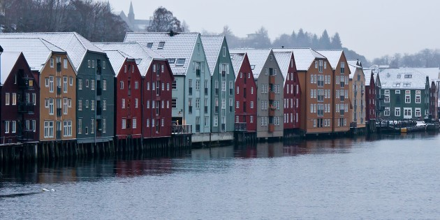 Colorful architecture along the Nidelven river, Trondheim, Norway