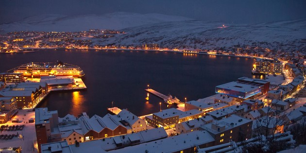 Winter evening in Hammerfest, the northernmost town in the world