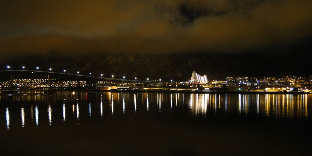 Winter night in Tromsø with the Arctic Cathedral in the distance