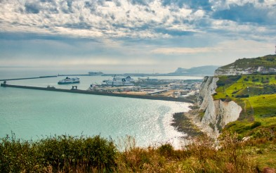Ship in Harbour in Dover, Sea to the left, white cliffs to the right.