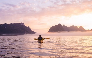 Kayaking in Reine, Lofoten.