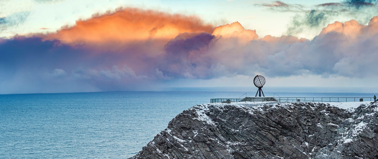 Photo of the globe at the North Cape.