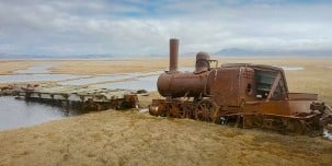 Abandoned locomotive from the gold rush era in Alaska