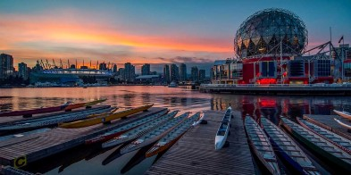 Sunset view of False Creek, Vancouver