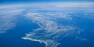 View of Davis Strait from above, Labrador Sea