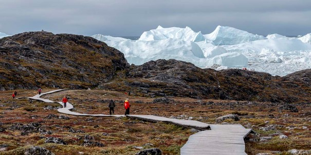 Hiking in the pristine nature of Ilulissat, Greenland.