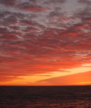 Beautiful sunset sky in Red Bay, Greenland