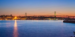View of the Macdonald Bridge at twilight, Halifax, Nova Scotia, Canada
