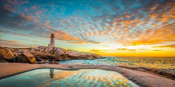 Peggy's Cove lighthouse at sunset, Halifax, Nova Scotia, Canada