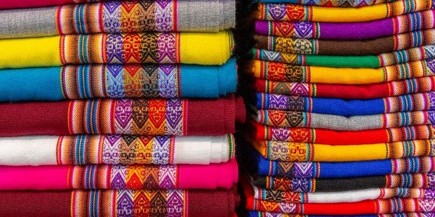 Colorful and traditional woolen fabric, Lima, Peru