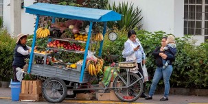 Fruit vendor in the streets of Lima.