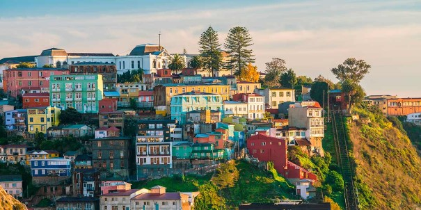 Colorful buildings in the UNESCO World Heritage city of Valparaiso, Chile.