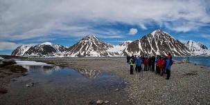 Hiking along the Magdalenefjord, Svalbard