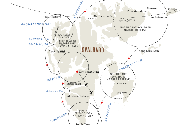A map of Svalbard.