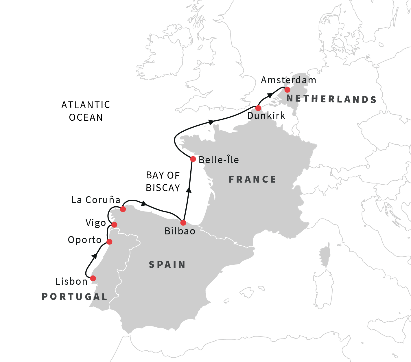 Cruise the western coast of Europe: Lisbon to Amsterdam ... on map of portugal, humans in portugal, lisbon portugal, capital of portugal,