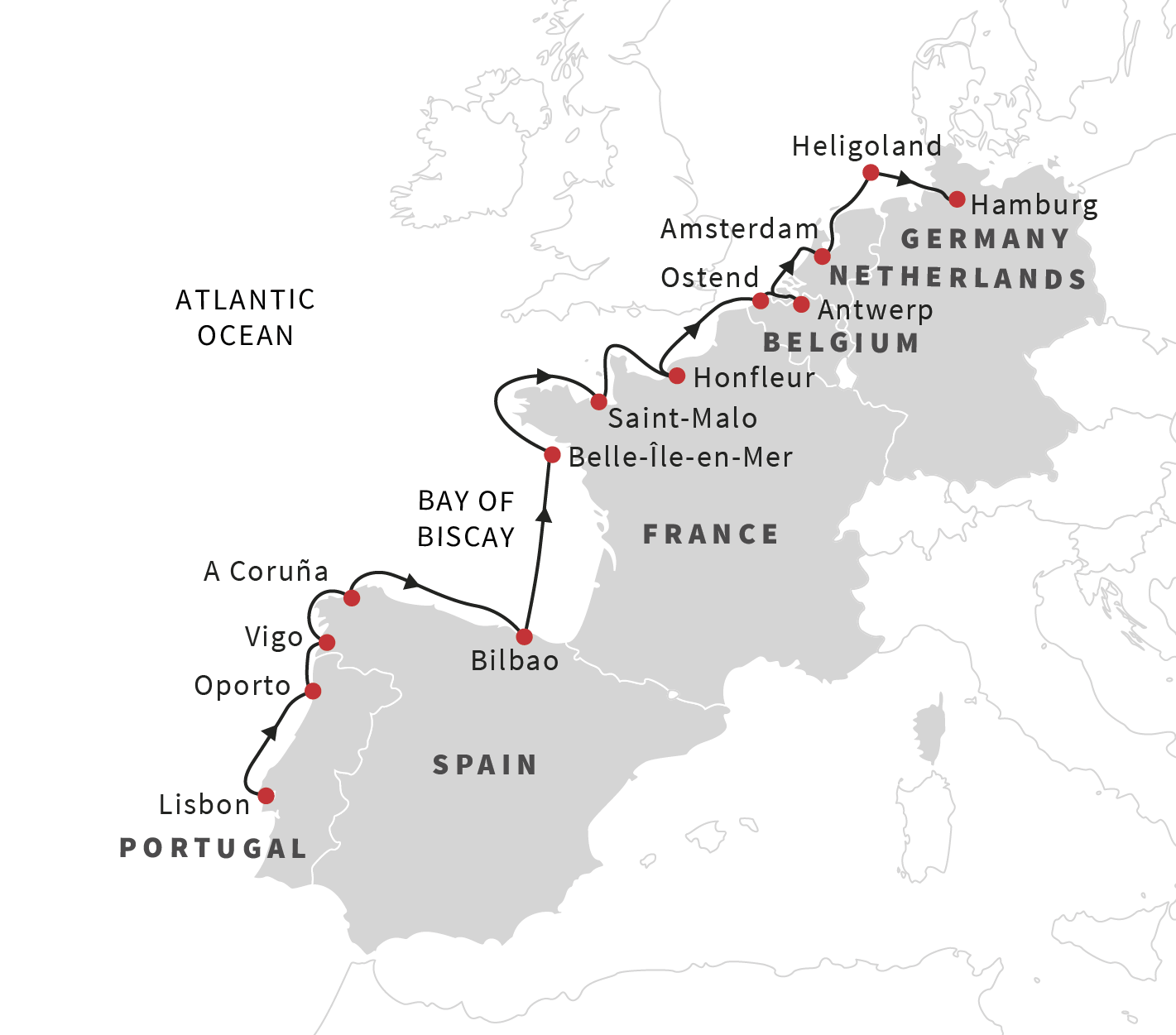 Cruise the european coast from lisbon to hamburg may 2019 starting along the beautiful coast of portugal we continue north through spain france the netherlands and belgium before ending the adventure in germany gumiabroncs Gallery