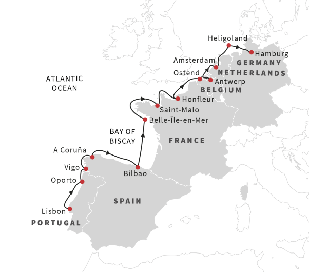 Map Of Germany France And Spain.Cruise The European Coast From Lisbon To Hamburg May 2019