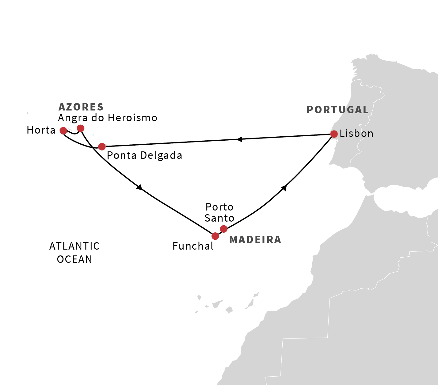 Europe Cruises Lisbon Roundtrip To The Azores The Treasures Of - Portugal map azores