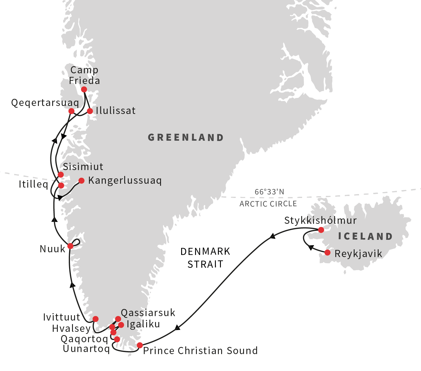 Iceland and greenland the viking heritage itinerary 2 hurtigruten explore southern greenland and the disko bay area also known as the heart of the nation the spectacular scenery and fantastic fjords under the midnight gumiabroncs Choice Image