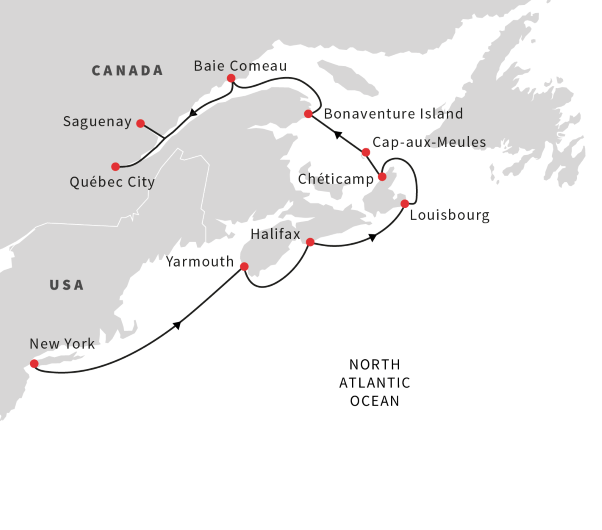 Map Of New York And Quebec.Cruise Northeast Us And Canada New York To Quebec City Hurtigruten