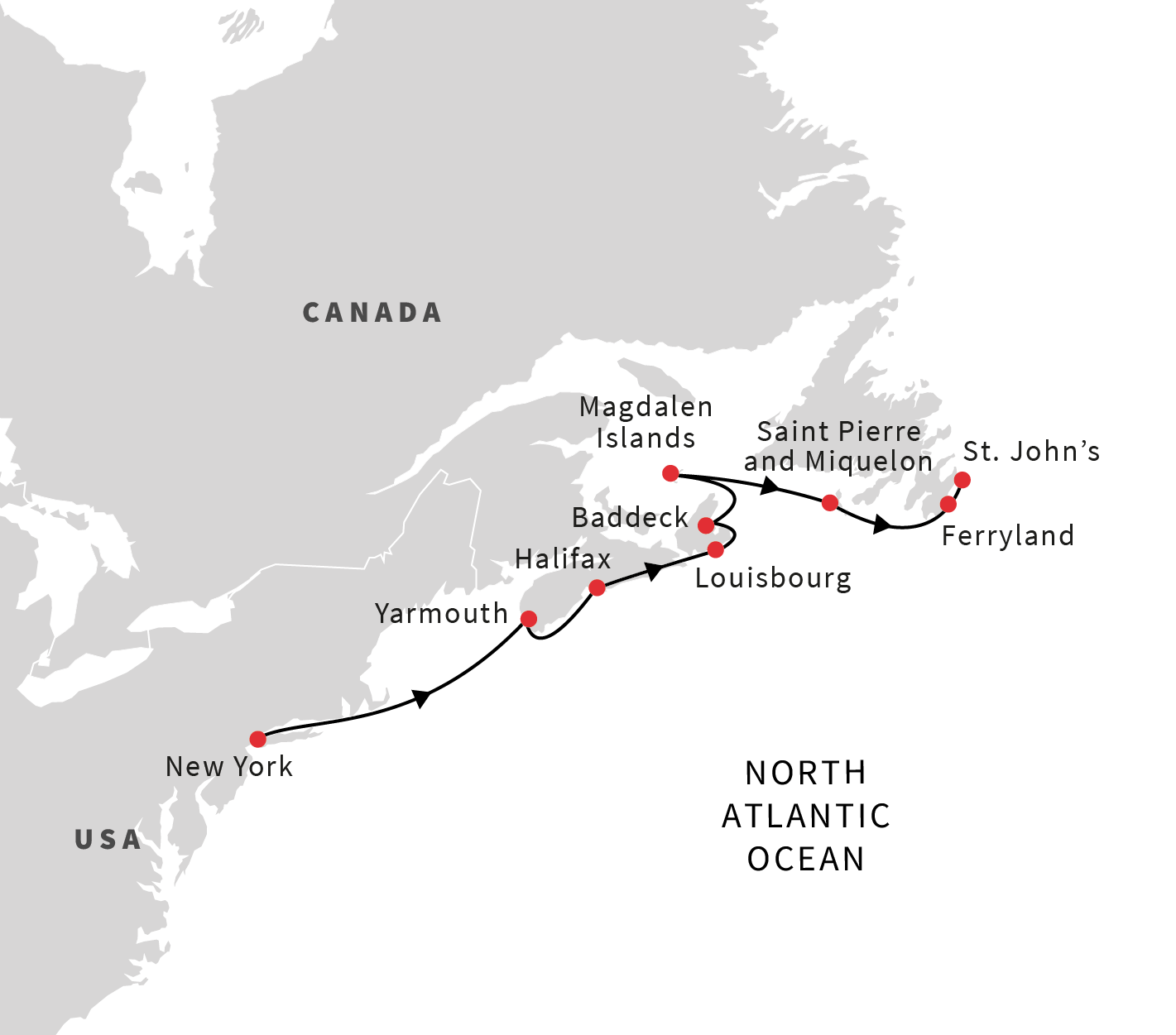 Cruise from New York USA to St Johns Canada Spring 2019