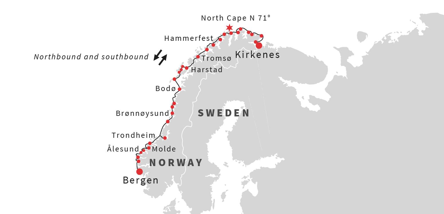 Norway Cruises Astronomy Cruise Hurtigruten USA Hurtigruten US - Norway to usa map