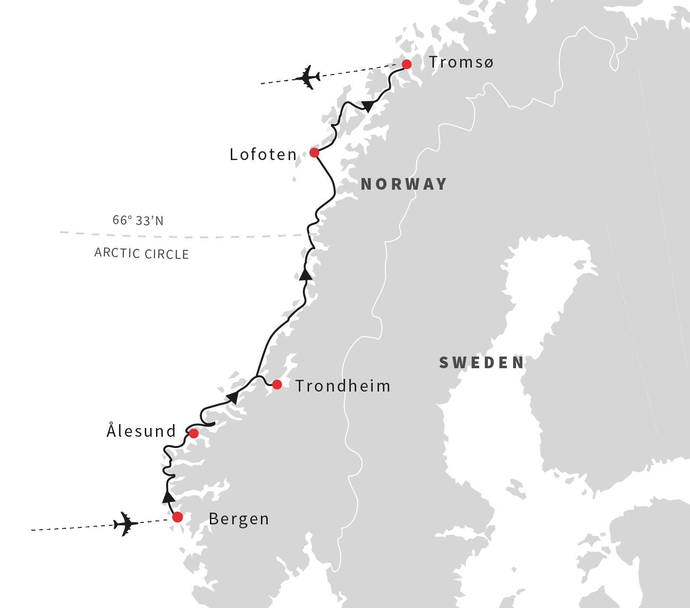 Norway Cruises In Search Of The Northern Lights Hurtigruten US - Norway map northern lights