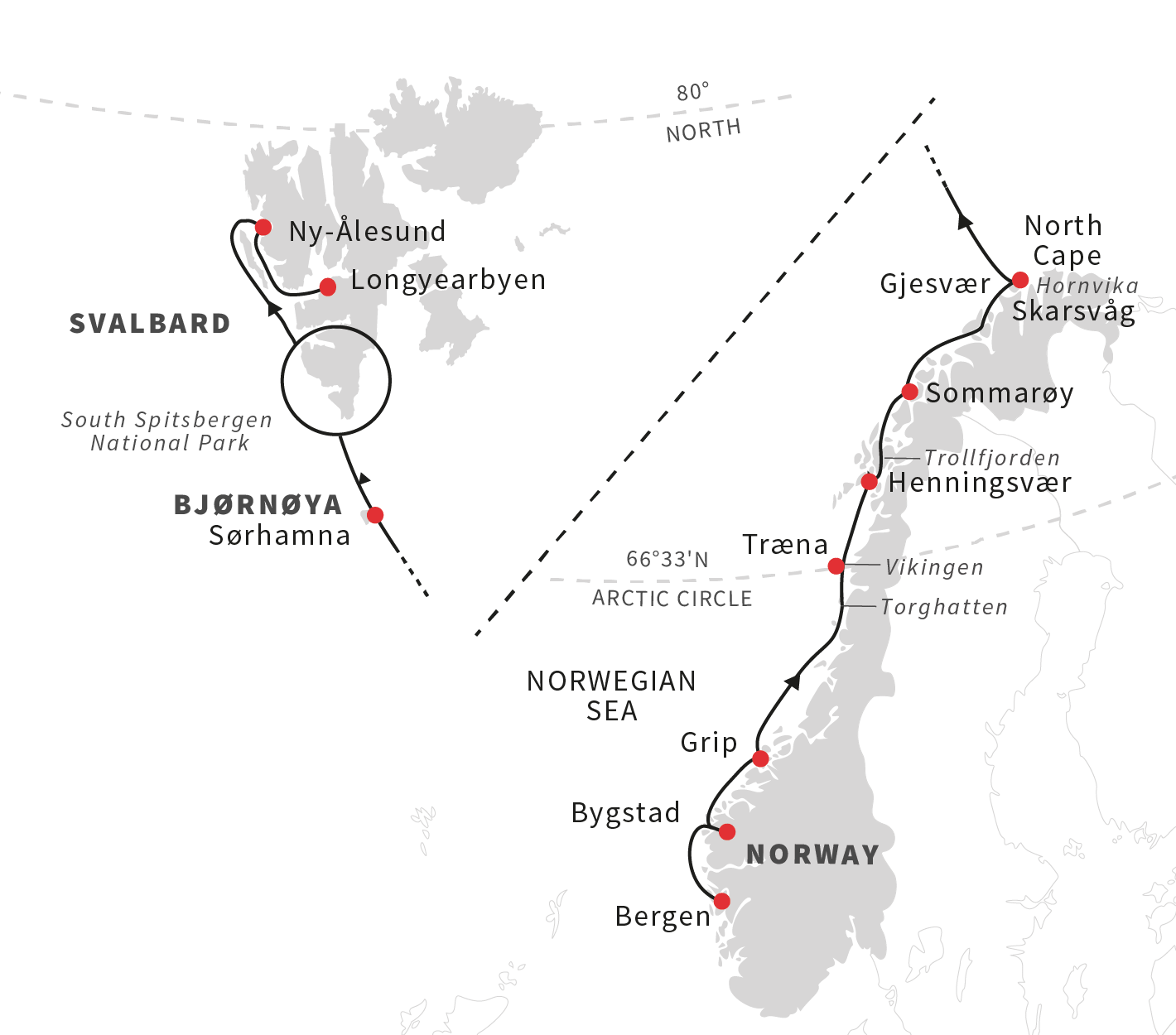 Expedition cruise across the Arctic Sea Norway to Svalbard