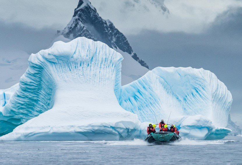 With tenderboats in Antarctica