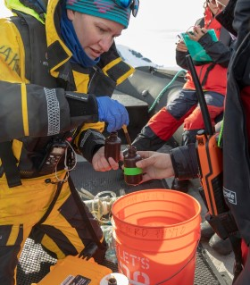 Hurtigruten Expedition Team member with guests collecting Citizen Science samples.