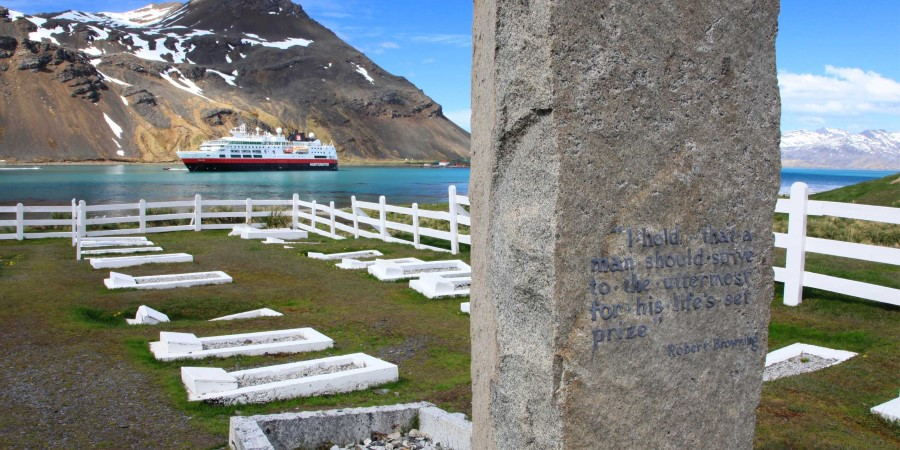 The grave of Ernest Shackleton in Grytviken, South Georgia