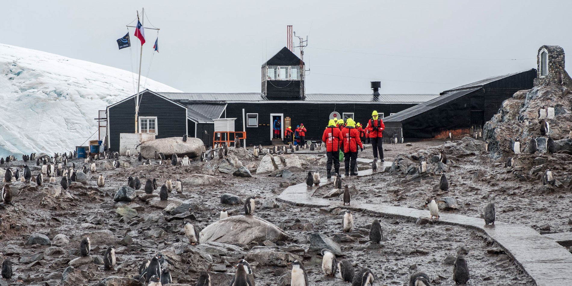 Hurtigruten guests visit a research station in Paradise Bay Antarctica