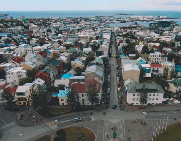 Overview of Reykjavik from Hallgrímskirkja, the tallest church in Iceland.