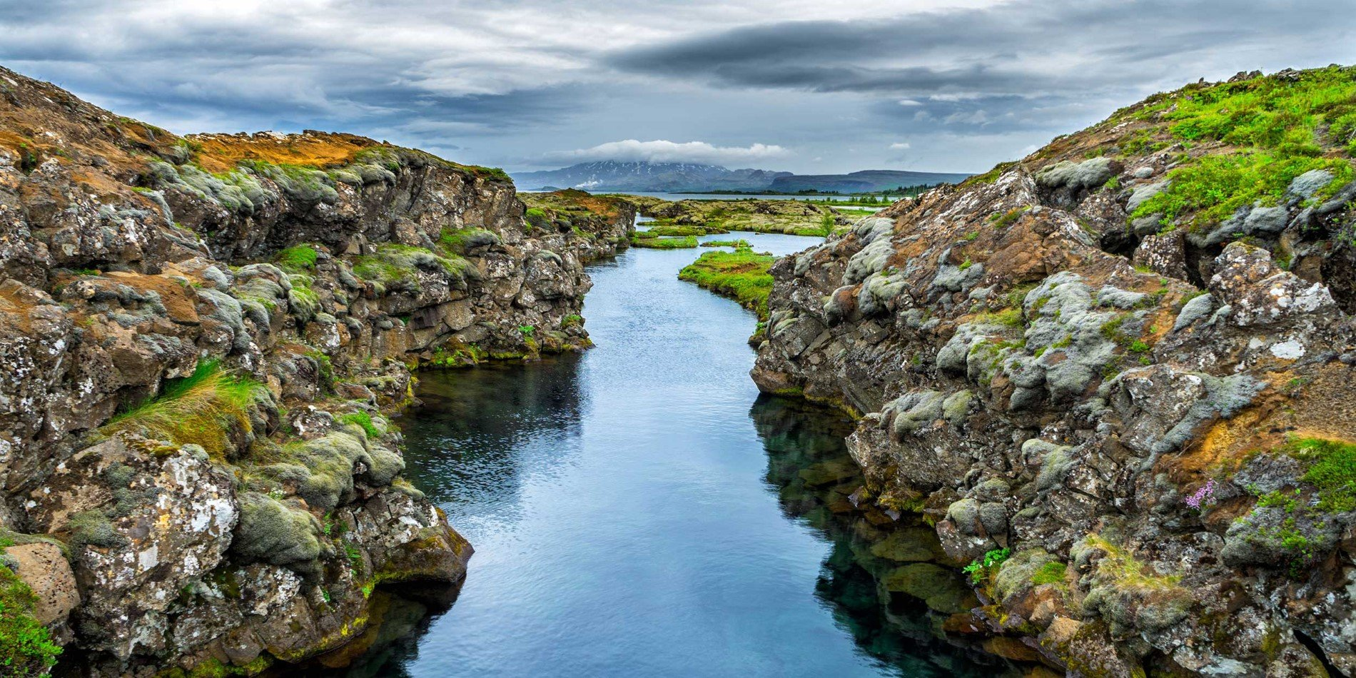 Crystal clear water in the Silfra fissure between the North American and Eurasian continental plates in Thingvellir (Þingvellir) National Park Iceland