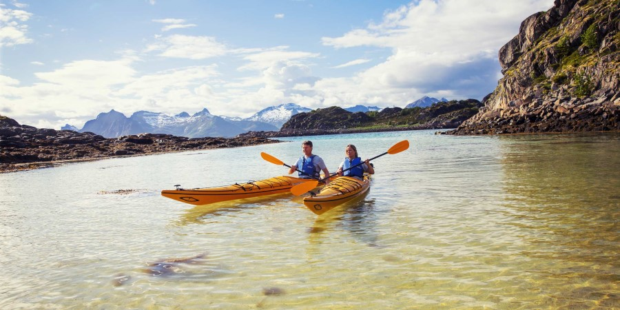 Kayaking is just one of the many excursions we offer on board with Hurtigruten. Stay active and explore Norwegian nature with hikes, walks and boat tours.